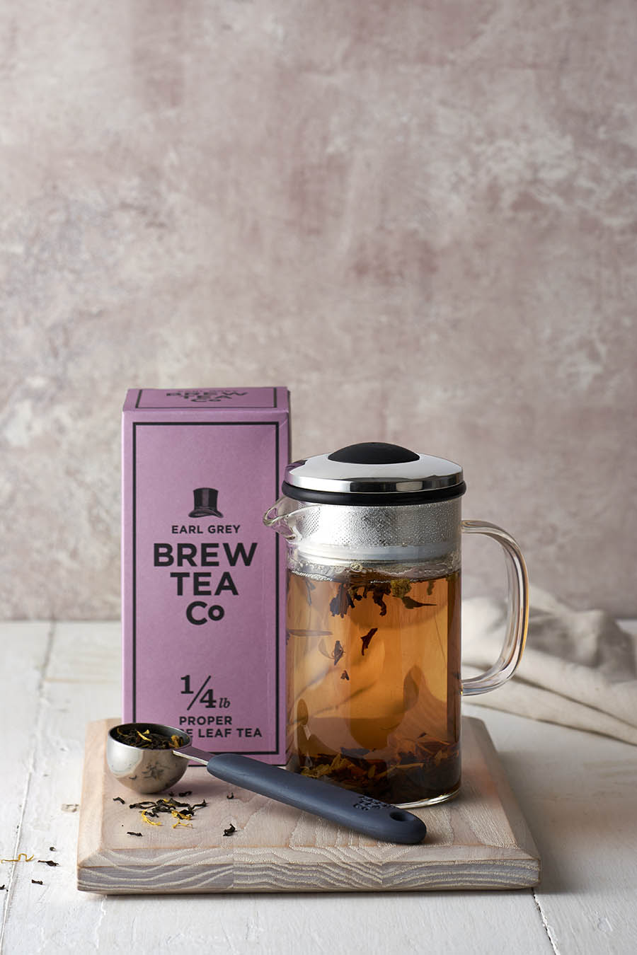 brew tea co earl grey drink photography