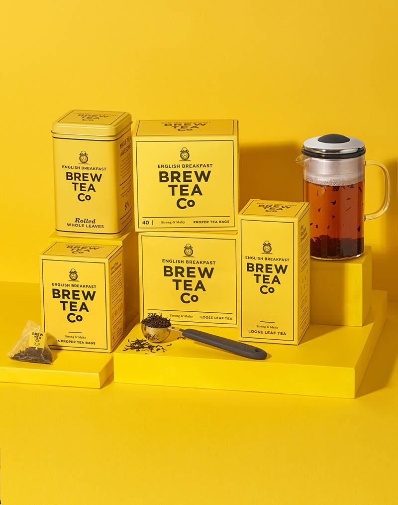 Brew Tea Co product photography of English breakfast range