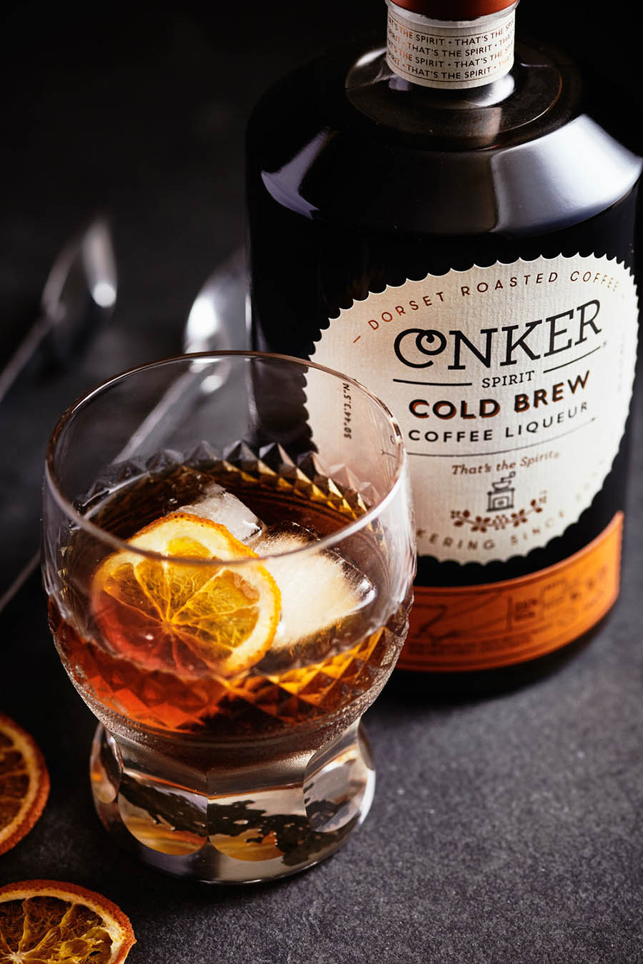 conker cold brew coffee liquor drink photography
