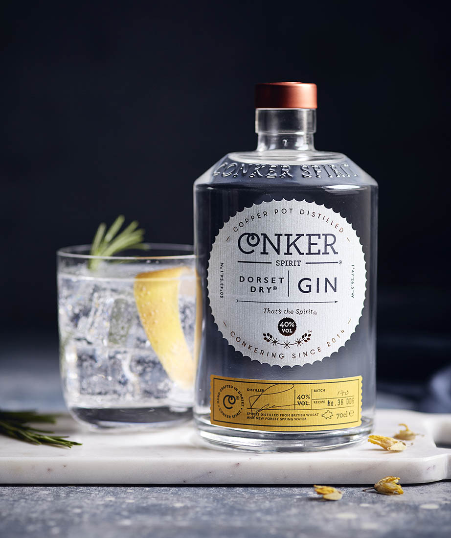 conker spirit dry gin drink photography