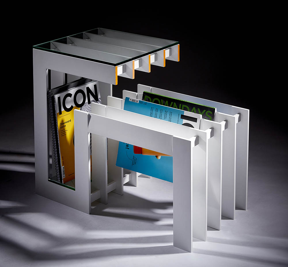 modern magazine rack product photography