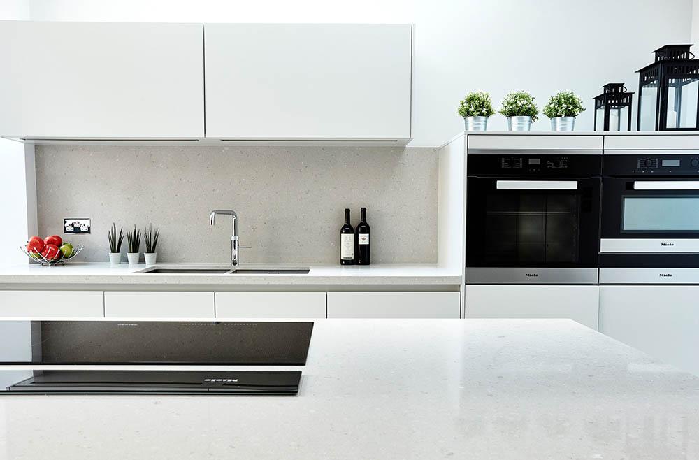 modern kitchen quartz worktop location photography