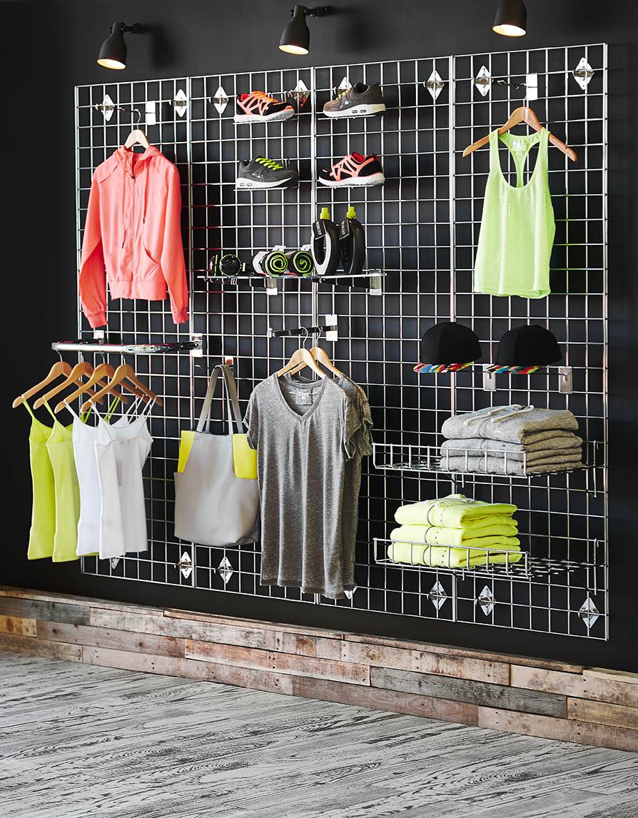 Shopfitting warehouse gridwall shelving product photography
