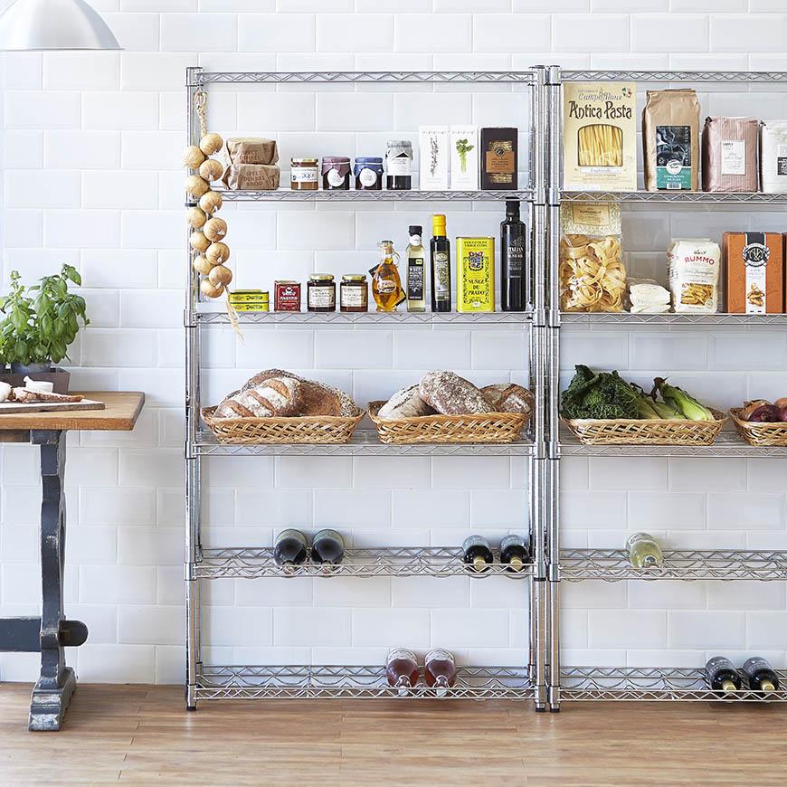 Shopfitting warehouse kitchen shelving product photography